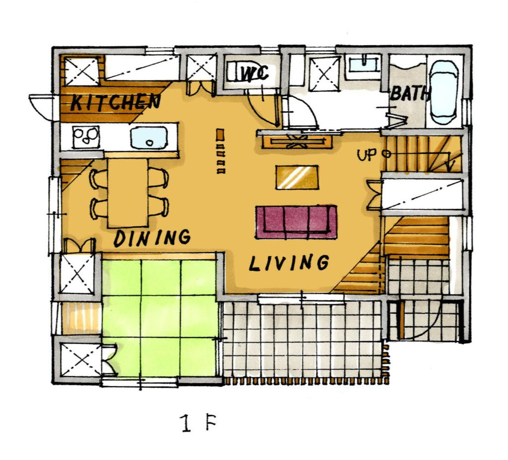 38坪の2階建て間取り図 ワンフロアで家事動線が完結する家 | 狭小住宅